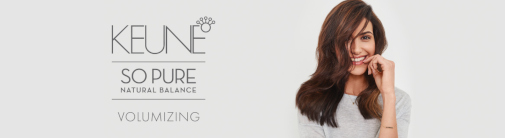 A long-haired brunette woman on the right with a Keune hair products logo on the left.