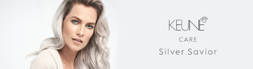 A silver-coloured, long-haired woman on the left with a Keune hair products logo on the right.
